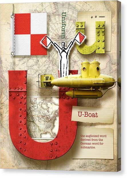 Nato Canvas Print - Navy Alphabet Nautical Letter U by Vanessa Bates