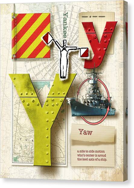 Nato Canvas Print - Navy Alphabet Nautical Letter Y by Vanessa Bates