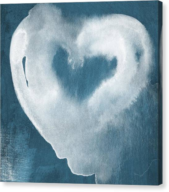 Shower Canvas Print - Navy Blue And White Love by Linda Woods