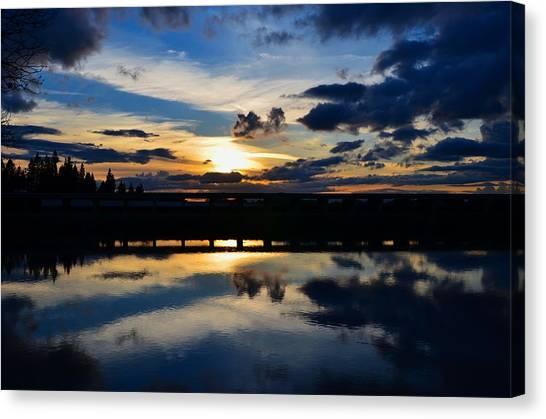 Navy Blue Sunset Canvas Print