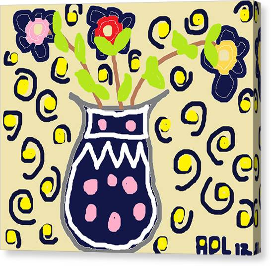Navy Flowers In A Vaz Canvas Print