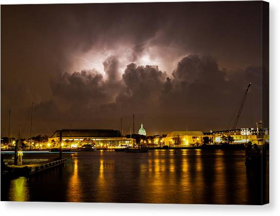 Navy Lightning Canvas Print