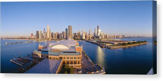 Warehouses Canvas Print - Navy Pier, Chicago, Morning, Illinois by Panoramic Images
