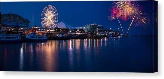 Fireworks Canvas Print - Navy Pier Fireworks Chicago I L by Steve Gadomski