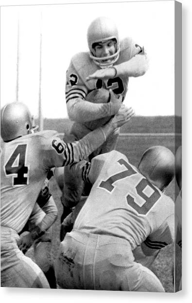 Football Canvas Print - Navy Quarterback Staubach by Underwood Archives