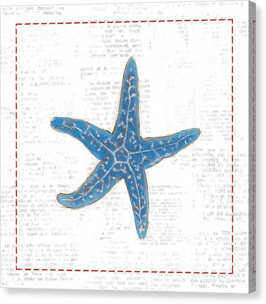 Starfish Canvas Print - Navy Starfish On Newsprint With Red by Emily Adams