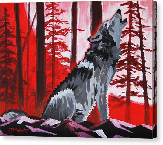 Wolf With Red Sky Canvas Print