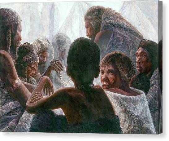 Neanderthals With Modern Humans Canvas Print by Kennis And Kennismsf