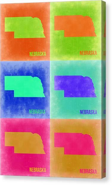 Nebraska Canvas Print - Nebraska Pop Art Map 2 by Naxart Studio