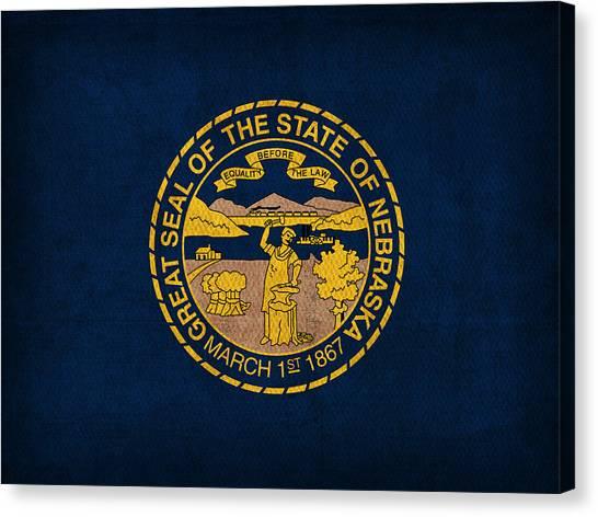 Nebraska Canvas Print - Nebraska State Flag Art On Worn Canvas by Design Turnpike