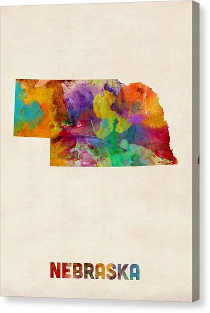 Nebraska Canvas Print - Nebraska Watercolor Map by Michael Tompsett