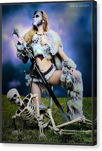 Necromancer On The Killing Fields Canvas Print