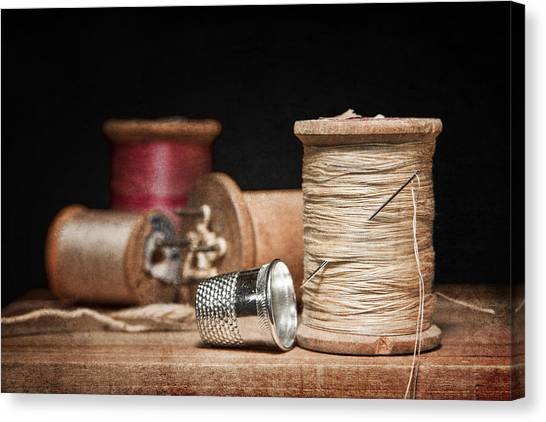 Sewing Canvas Print - Needle And Thread by Tom Mc Nemar