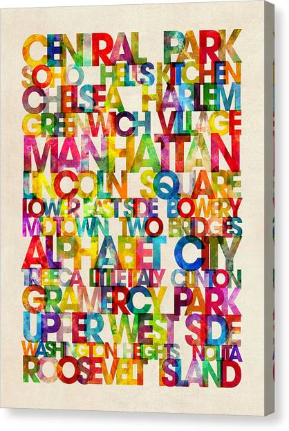 Word Art Canvas Print - Neighborhoods Of Manhattan New York by Michael Tompsett