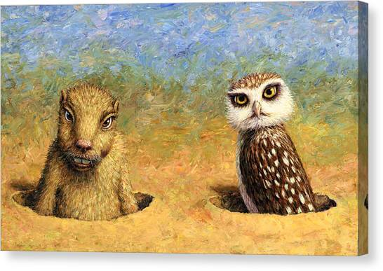 Groundhogs Canvas Print - Neighbors by James W Johnson