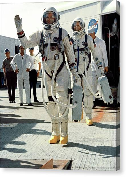 Space Suit Canvas Print - Neil Armstrong And David R. Scott In 1966 by Nasa