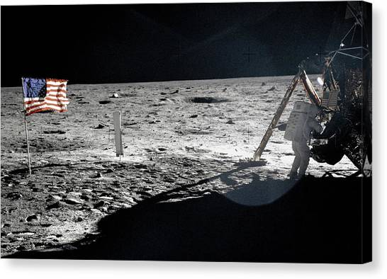 Space Suit Canvas Print - Neil Armstrong On The Moon by Nasa/science Photo Library