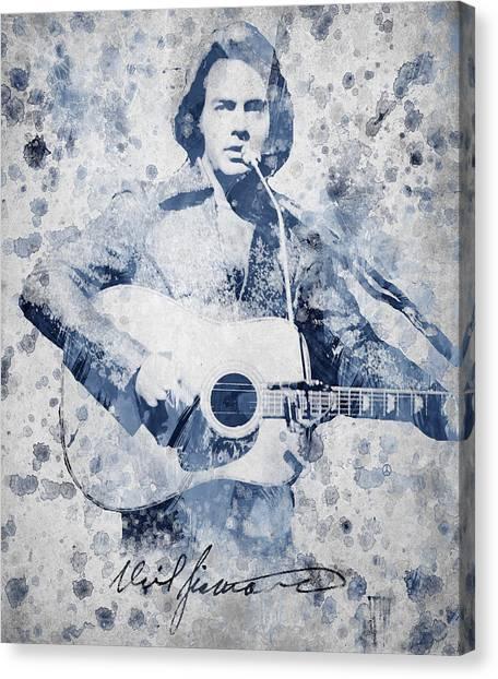 Famous Artists Canvas Print - Neil Diamond Portrait by Aged Pixel