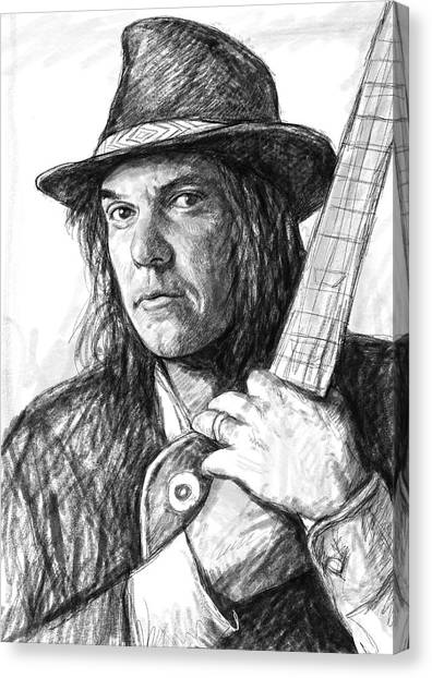 Om Canvas Print - Neil Young Art Drawing Sketch Portrait by Kim Wang