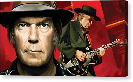 Neil Young Canvas Print - Neil Young Artwork by Sheraz A