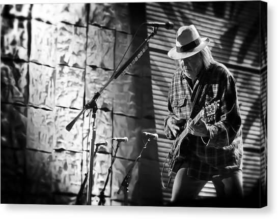Neil Young Canvas Print - Neil Young Live In Concert by Jennifer Rondinelli Reilly - Fine Art Photography