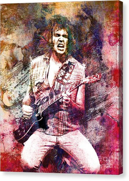 Neil Young Canvas Print - Neil Young Original Painting Print by Ryan Rock Artist