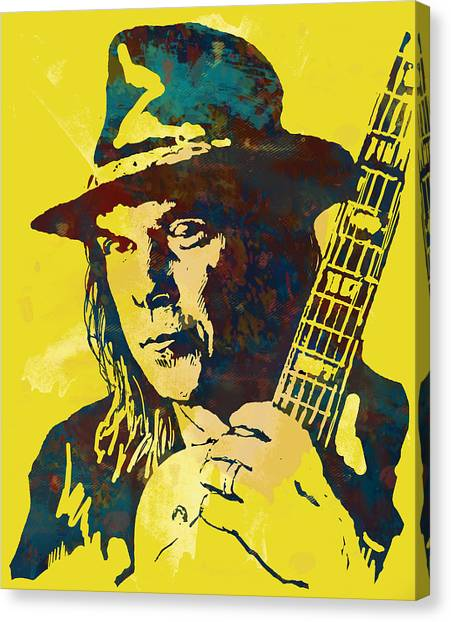 Neil Young Canvas Print - Neil Young Pop Artsketch Portrait Poster by Kim Wang