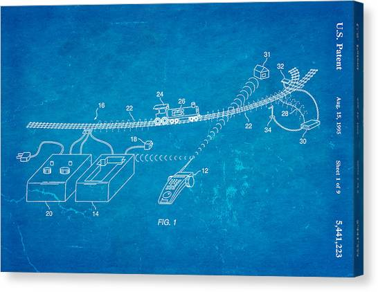 Neil Young Canvas Print - Neil Young Train Control Patent Art 1995 Blueprint by Ian Monk