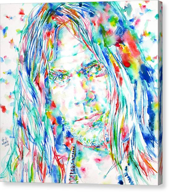 Neil Young Canvas Print - Neil Young - Watercolor Portrait by Fabrizio Cassetta
