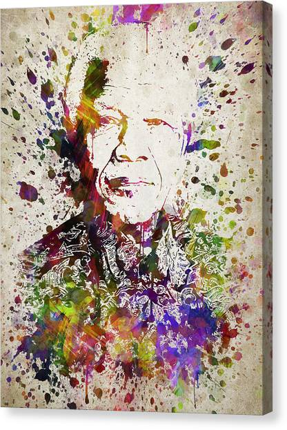 Nelson Mandela Canvas Print - Nelson Mandela In Color by Aged Pixel