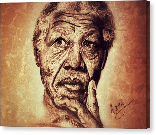 Nelson Mandela  Canvas Print by Leanne Lewis