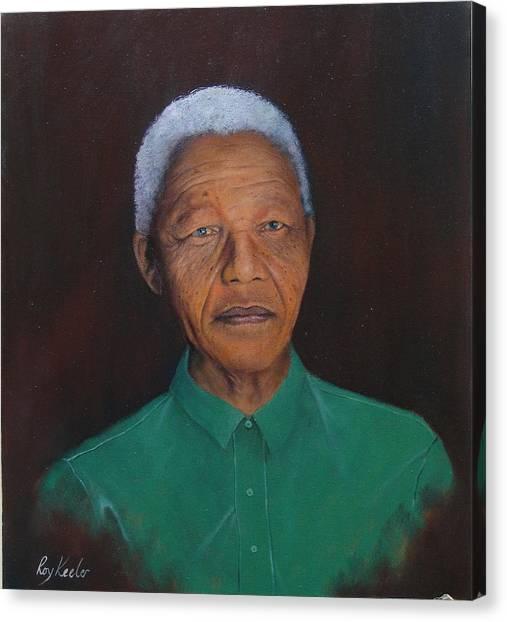 Nelson Mandela Canvas Print by Roy Keeler