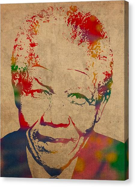 Distressed Canvas Print - Nelson Mandela Watercolor Portrait On Worn Distressed Canvas by Design Turnpike