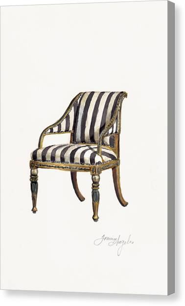 Neoclassical Art Canvas Print - Neoclassical Armchair by Jazmin Angeles