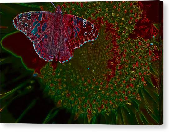 Neon Butterfly Canvas Print