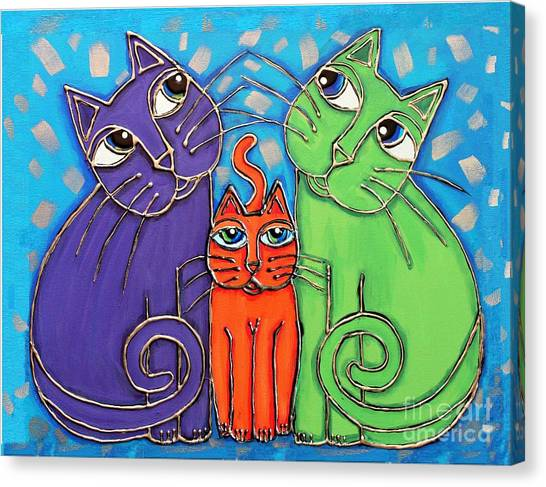 Neon Cat Trio #1 Canvas Print