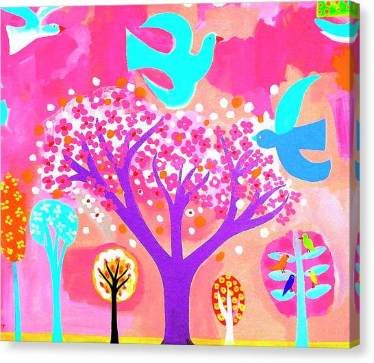 Neon Colored Birds And Flowering Trees Canvas Print by Christopher Corr