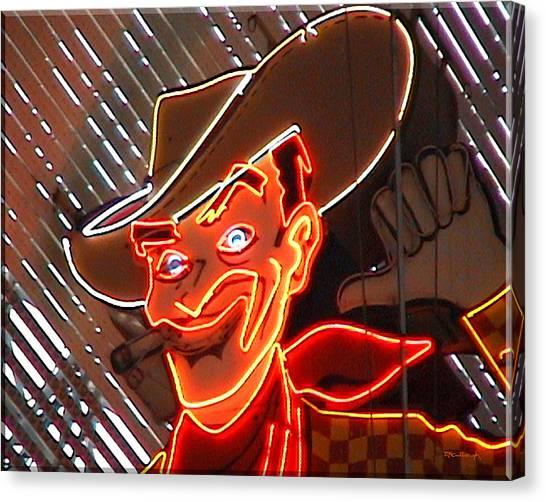 Neon Cowboy Of  Las Vegas Canvas Print