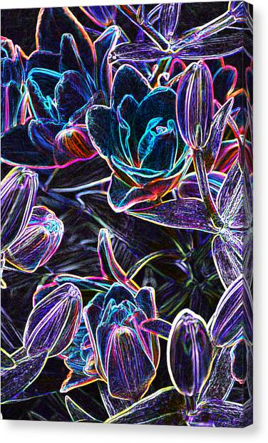 Neon Lilies Canvas Print
