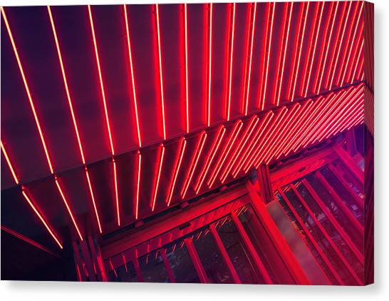 Neon Lit Entrance Canvas Print by Marcus Lindstrom