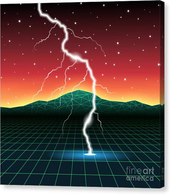 Flash Canvas Print - Neon New Retro Wave Landscape With by Swill Klitch