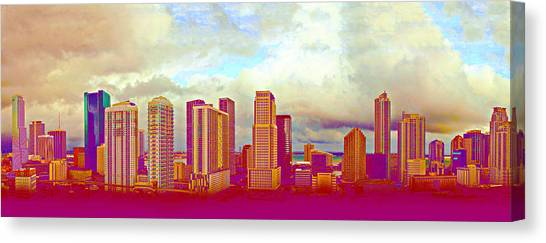 Neon Panorama 1 Canvas Print by Michael Guirguis