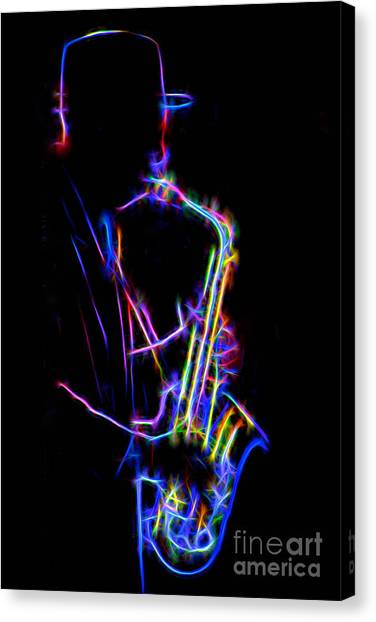 Neon Sax Canvas Print
