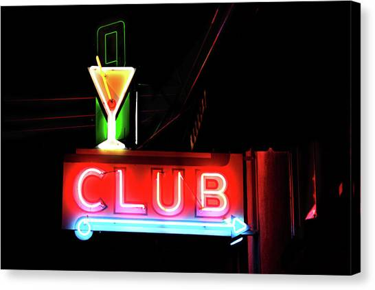 Neon Sign Club Canvas Print