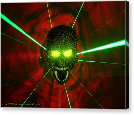 Neon Skull Canvas Print