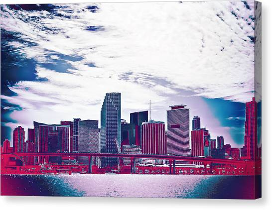 Miami Skyline Canvas Print - Neon Soul - 20 by Michael Guirguis