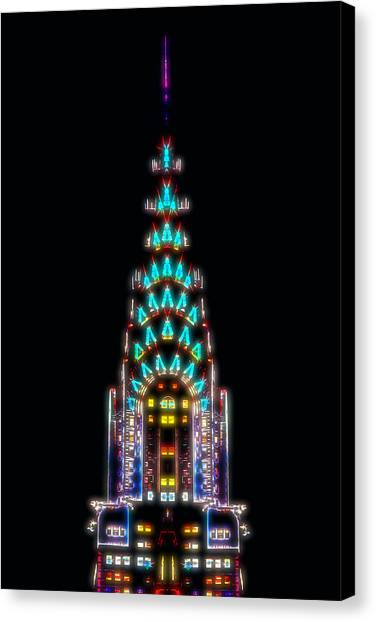 Chrysler Building Canvas Print - Neon Spires by Az Jackson