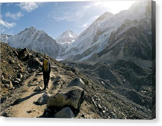 Backpacks Canvas Print - Nepal A Trekker On The Everest Base by David Noyes
