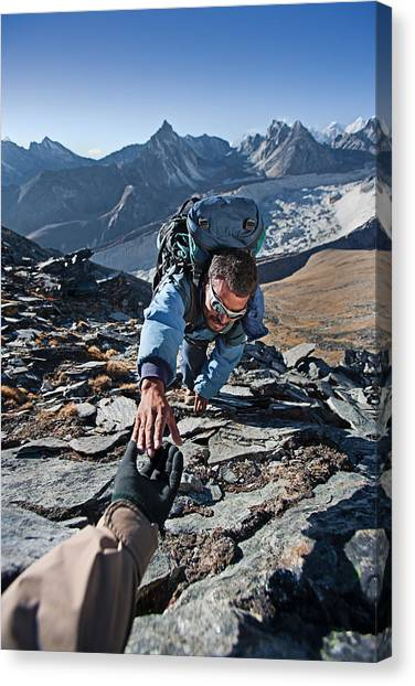 Nepali Sherpa Climbing In Himalayas Canvas Print by Hadynyah