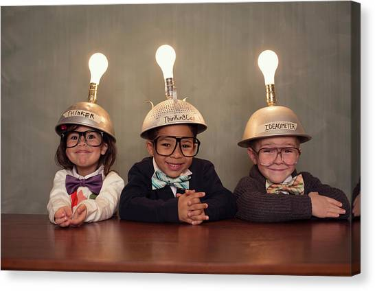 Nerd Children Wearing Lighted Mind Canvas Print by Richvintage